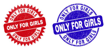 Round and rosette ONLY FOR GIRLS watermarks. Flat vector textured watermarks with ONLY FOR GIRLS slogan inside round and sharp rosette shape, in red and blue colors. Imprints with grunge texture.
