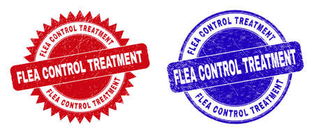 Round and rosette FLEA CONTROL TREATMENT seal stamps. Flat vector grunge stamps with FLEA CONTROL TREATMENT title inside round and sharp rosette shape, in red and blue colors. Ilustrace