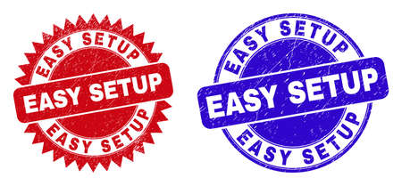 Round and rosette EASY SETUP watermarks. Flat vector scratched watermarks with EASY SETUP text inside round and sharp rosette shape, in red and blue colors.