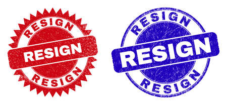 Round and rosette RESIGN seal stamps. Flat vector textured seal stamps with RESIGN title inside round and sharp rosette shape, in red and blue colors.