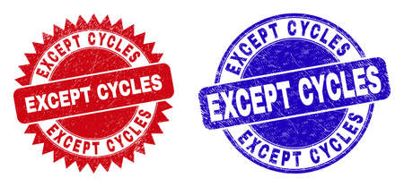 Round and rosette EXCEPT CYCLES stamps. Flat vector scratched seal stamps with EXCEPT CYCLES slogan inside round and sharp rosette shape, in red and blue colors.