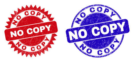 Round and rosette NO COPY seals. Flat vector textured stamps with NO COPY message inside round and sharp rosette form, in red and blue colors. Watermarks with corroded style, on a white background.