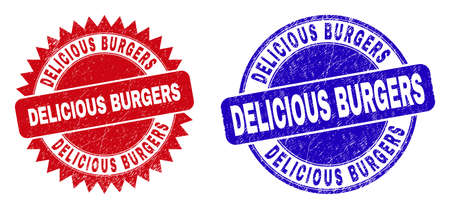 Round and rosette DELICIOUS BURGERS seal stamps. Flat vector textured seal stamps with DELICIOUS BURGERS message inside round and sharp rosette shape, in red and blue colors.