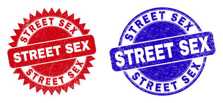 Round and rosette STREET SEX stamps. Flat vector scratched stamps with STREET SEX text inside round and sharp rosette shape, in red and blue colors.