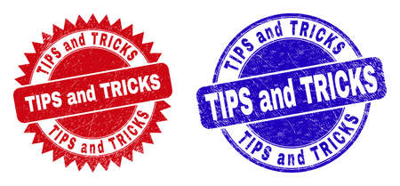 Round and rosette TIPS AND TRICKS watermarks. Flat vector distress watermarks with TIPS AND TRICKS message inside round and sharp rosette shape, in red and blue colors.