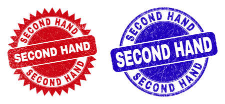 Round and rosette SECOND HAND seal stamps. Flat vector scratched seals with SECOND HAND slogan inside round and sharp rosette form, in red and blue colors.