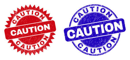 Rounded and rosette CAUTION seals. Flat vector distress seals with CAUTION message inside round and sharp rosette shape, in red and blue colors. Imprints with distress texture, on a white background.