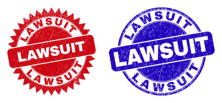 Round and rosette LAWSUIT seal stamps. Flat vector distress watermarks with LAWSUIT text inside round and sharp rosette shape, in red and blue colors.