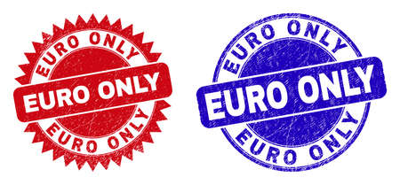 Rounded and rosette EURO ONLY seal stamps. Flat vector textured seal stamps with EURO ONLY slogan inside round and sharp rosette shape, in red and blue colors.