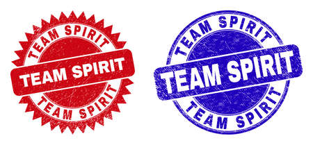 Round and rosette TEAM SPIRIT watermarks. Flat vector scratched watermarks with TEAM SPIRIT tag inside round and sharp rosette form, in red and blue colors.