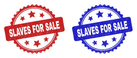 Rosette SLAVES FOR SALE stamps. Flat vector distress stamps with SLAVES FOR SALE text inside rosette shape with stars, in blue and red color versions. Imprints with unclean surface.