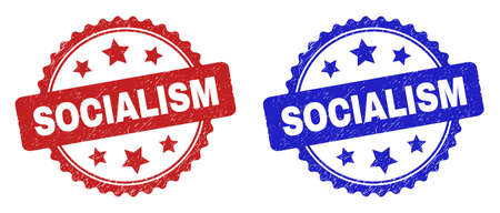Rosette SOCIALISM watermarks. Flat vector grunge seal stamps with SOCIALISM phrase inside rosette with stars, in blue and red color variants. Rubber imitations with grunge style.