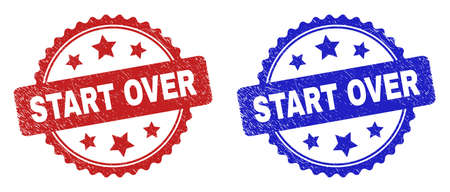Rosette START OVER seal stamps. Flat vector grunge seal stamps with START OVER phrase inside rosette shape with stars, in blue and red color variants. Watermarks with distress surface.