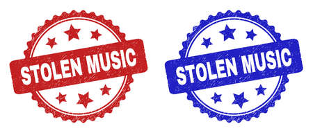 Rosette STOLEN MUSIC watermarks. Flat vector distress watermarks with STOLEN MUSIC phrase inside rosette shape with stars, in blue and red color variants. Watermarks with scratched texture.