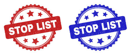 Rosette STOP LIST seal stamps. Flat vector textured seal stamps with STOP LIST message inside rosette with stars, in blue and red color versions. Watermarks with unclean style.