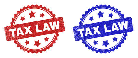 Rosette TAX LAW watermarks. Flat vector distress watermarks with TAX LAW caption inside rosette shape with stars, in blue and red color variants. Imprints with scratched surface.