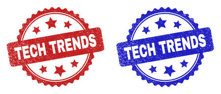 Rosette TECH TRENDS seal stamps. Flat vector grunge watermarks with TECH TRENDS title inside rosette shape with stars, in blue and red color variants. Watermarks with grunge texture.