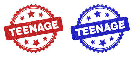 Rosette TEENAGE seal stamps. Flat vector distress seal stamps with TEENAGE phrase inside rosette shape with stars, in blue and red color versions. Watermarks with distress texture.
