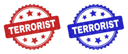 Rosette TERRORIST seal stamps. Flat vector grunge seal stamps with TERRORIST text inside rosette with stars, in blue and red color variants. Watermarks with grunge texture.