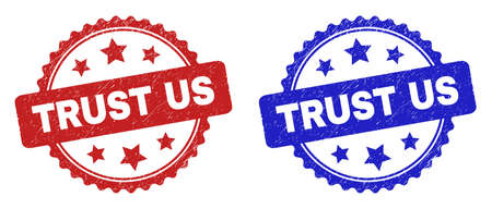 Rosette TRUST US seal stamps. Flat vector textured seal stamps with TRUST US message inside rosette with stars, in blue and red color versions. Rubber imitations with corroded texture.