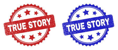 Rosette TRUE STORY stamps. Flat vector scratched stamps with TRUE STORY message inside rosette shape with stars, in blue and red color versions. Imprints with distress style.