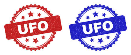 Rosette UFO seal stamps. Flat vector grunge seal stamps with UFO caption inside rosette shape with stars, in blue and red color variants. Watermarks with unclean surface.