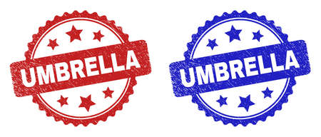 Rosette UMBRELLA seal stamps. Flat vector grunge seal stamps with UMBRELLA phrase inside rosette with stars, in blue and red color variants. Rubber imitations with distress surface.