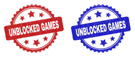 Rosette UNBLOCKED GAMES seal stamps. Flat vector distress seal stamps with UNBLOCKED GAMES text inside rosette with stars, in blue and red color variants. Watermarks with distress surface.