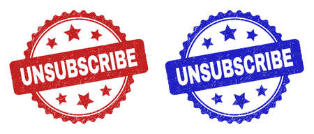Rosette UNSUBSCRIBE seal stamps. Flat vector textured seal stamps with UNSUBSCRIBE text inside rosette with stars, in blue and red color variants. Watermarks with corroded surface.