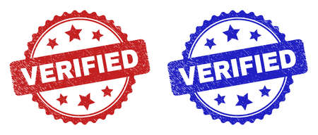 Rosette VERIFIED watermarks. Flat vector distress watermarks with VERIFIED phrase inside rosette with stars, in blue and red color versions. Watermarks with corroded surface.