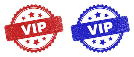 Rosette VIP seal stamps. Flat vector grunge watermarks with VIP title inside rosette shape with stars, in blue and red color versions. Watermarks with grunge style.