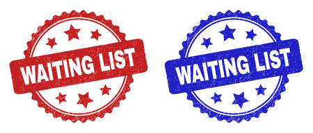 Rosette WAITING LIST seals. Flat vector scratched seals with WAITING LIST message inside rosette with stars, in blue and red color variants. Rubber imitations with scratched style. Ilustrace