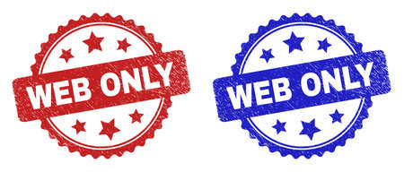 Rosette WEB ONLY seal stamps. Flat vector scratched seal stamps with WEB ONLY phrase inside rosette shape with stars, in blue and red color variants. Rubber imitations with scratched texture.