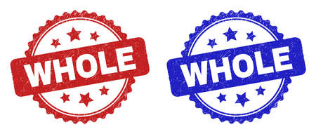 Rosette WHOLE watermarks. Flat vector distress seals with WHOLE text inside rosette shape with stars, in blue and red color versions. Watermarks with unclean surface.