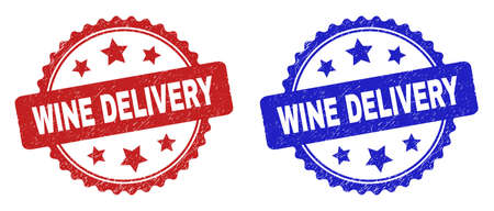 Rosette WINE DELIVERY seal stamps. Flat vector grunge seal stamps with WINE DELIVERY caption inside rosette with stars, in blue and red color variants. Imprints with distress style.