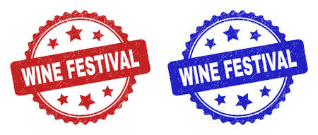 Rosette WINE FESTIVAL seal stamps. Flat vector scratched seal stamps with WINE FESTIVAL text inside rosette with stars, in blue and red color variants. Rubber imitations with corroded texture. Illusztráció
