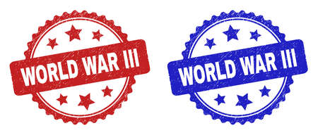 Rosette WORLD WAR III seal stamps. Flat vector distress seal stamps with WORLD WAR III message inside rosette shape with stars, in blue and red color versions. Imprints with grunge style.