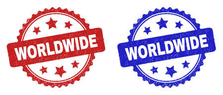 Rosette WORLDWIDE seals. Flat vector grunge watermarks with WORLDWIDE title inside rosette with stars, in blue and red color versions. Watermarks with corroded style.