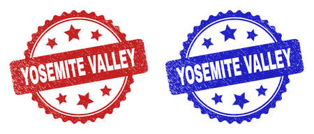 Rosette YOSEMITE VALLEY seal stamps. Flat vector distress stamps with YOSEMITE VALLEY title inside rosette with stars, in blue and red color versions. Watermarks with distress surface.