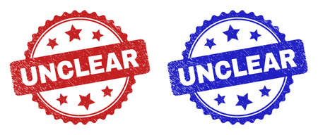 Rosette UNCLEAR seal stamps. Flat vector grunge seal stamps with UNCLEAR title inside rosette shape with stars, in blue and red color versions. Imprints with grunge surface.