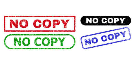 NO COPY grunge watermarks. Flat vector grunge watermarks with NO COPY slogan inside different rectangle and rounded forms, in blue, red, green, black color versions.