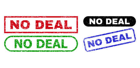 NO DEAL grunge seal stamps. Flat vector textured seal stamps with NO DEAL caption inside different rectangle and rounded forms, in blue, red, green, black color variants.