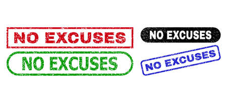 NO EXCUSES grunge watermarks. Flat vector grunge watermarks with NO EXCUSES text inside different rectangle and rounded shapes, in blue, red, green, black color versions. Imprints with grunge surface.