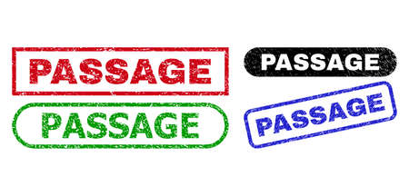 PASSAGE grunge seal stamps. Flat vector grunge seal stamps with PASSAGE tag inside different rectangle and rounded shapes, in blue, red, green, black color versions.