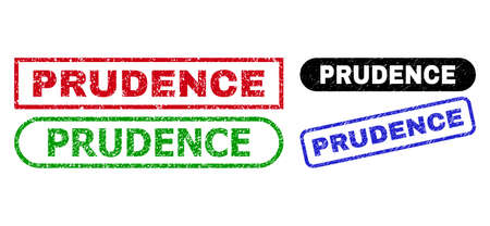 PRUDENCE grunge seal stamps. Flat vector textured seal stamps with PRUDENCE title inside different rectangle and rounded shapes, in blue, red, green, black color versions.