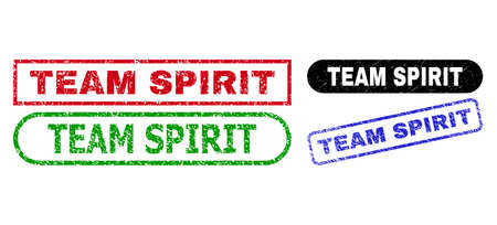 TEAM SPIRIT grunge seal stamps. Flat vector grunge seal stamps with TEAM SPIRIT message inside different rectangle and rounded forms, in blue, red, green, black color versions. 向量圖像