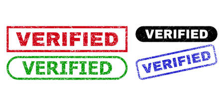 VERIFIED grunge watermarks. Flat vector grunge watermarks with VERIFIED title inside different rectangle and rounded shapes, in blue, red, green, black color versions. Watermarks with unclean surface.