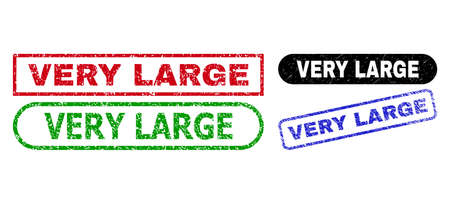 VERY LARGE grunge seal stamps. Flat vector distress watermarks with VERY LARGE caption inside different rectangle and rounded shapes, in blue, red, green, black color variants.
