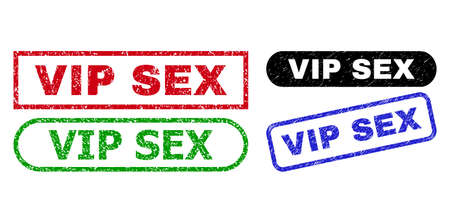 VIP SEX grunge stamps. Flat vector grunge seal stamps with VIP SEX message inside different rectangle and rounded shapes, in blue, red, green, black color versions. Imprints with unclean surface.