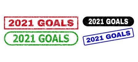 2021 GOALS grunge seal stamps. Flat vector grunge seal stamps with 2021 GOALS phrase inside different rectangle and rounded frames, in blue, red, green, black color versions. Ilustração